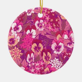 Vintager rosa Mit Blumenpansy-runde Verzierungen Rundes Keramik Ornament
