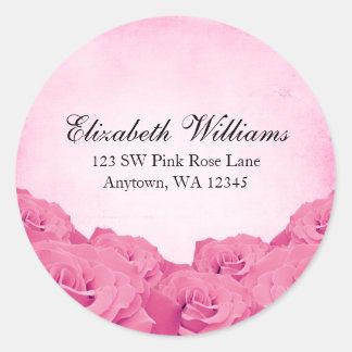 Vintager rosa Rosen-Adressen-Aufkleber Runder Aufkleber