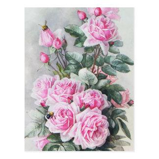 Vintager rosa Rosen-Blumenstrauß Postkarte