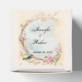 Vintager rosa Rosen-und Robin-Gastgeschenk Geschenkschachtel