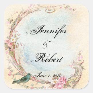 Vintager rosa Rosen-und Robin-Hochzeits-Umschlag Quadratischer Aufkleber