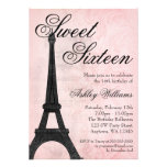 Vintager rosa schwarzer Geburtstag Paris Bonbon-16 Personalisierte Einladungskarte