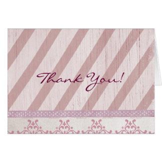 Vintager rosa Streifen danken Ihnen Mitteilungskarte