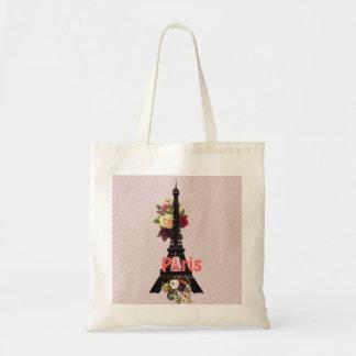 Vintager rosa Turm Blumen-Franzose-Paris Eiffel Tasche