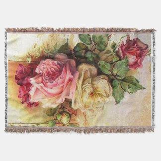 Vintager Rosen-Blumenstrauß-Afghane Decke