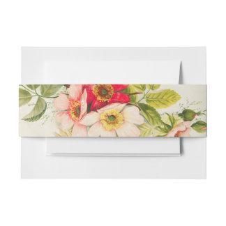 Vintager Rosen-Blumenstrauß-Blumenhochzeit Einladungsbanderole