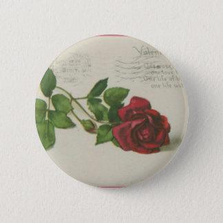 Vintager Rosen-Briefmarken-Buchstabedruck Runder Button 5,7 Cm