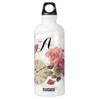 Vintager Rosen-Spitze-Uhr-Schmetterlings-Reisender Wasserflasche