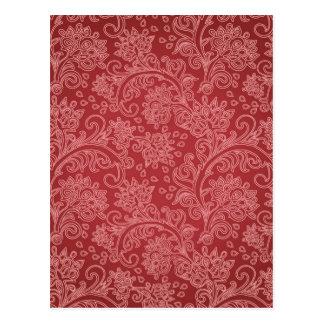 Vintager roter Paisley-Damast-Entwurf Postkarte
