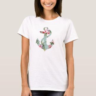 Vintager roter rosa grüner Blumenmuster-Anker T-Shirt