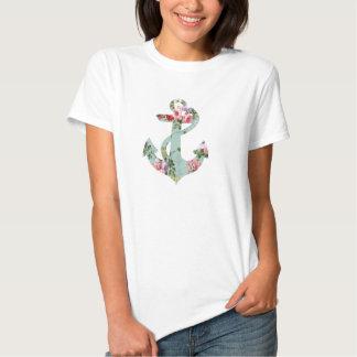 Vintager roter rosa grüner Blumenmuster-Anker Tshirts