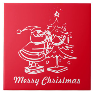 Vintager roter Weihnachtsmann mit Weihnachtsbaum Fliese