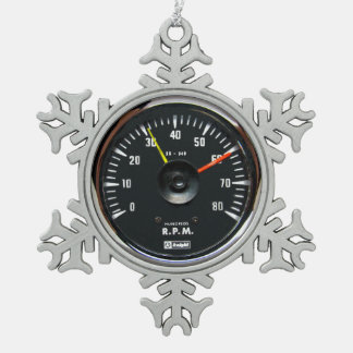 Vintager runder analoger Auto-Tachometer Schneeflocken Zinn-Ornament