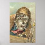 Vintager salziger Hund Plakatdrucke