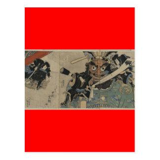 Vintager Samurai mit einer Fackel circa 1825 Postkarte
