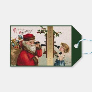 Vintager Sankt- u. Kindertelefon-Geschenk-Umbau Geschenkanhänger