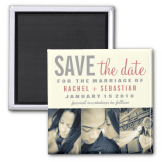 VINTAGER SAVE THE DATE MAGNET QUADRATISCHER MAGNET
