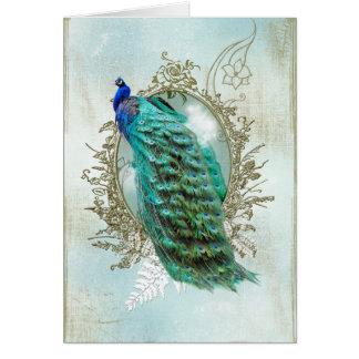 Vintager schäbiger Vogel des schönen Türkises des Grußkarte