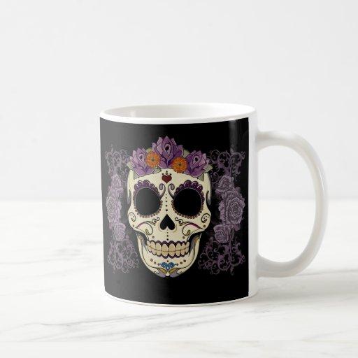Vintager Schädel und Rosen Kaffeetasse