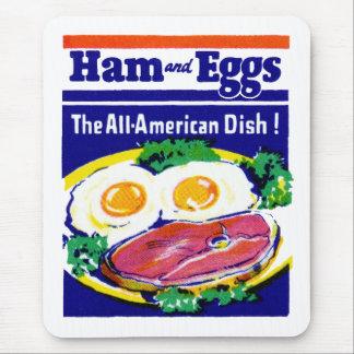 Vintager Schinken und Eier Mauspads