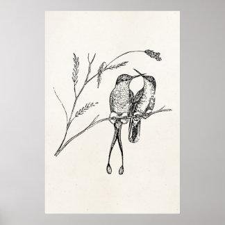 Vintager Schläger-Schwanz-Kolibri-personalisierter Poster