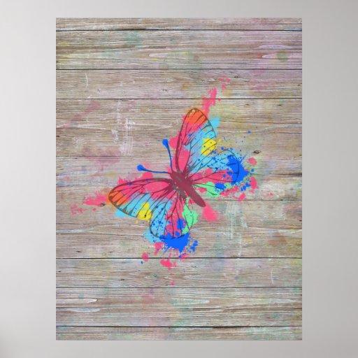 Vintager Schmetterling der coolen niedlichen Plakatdruck