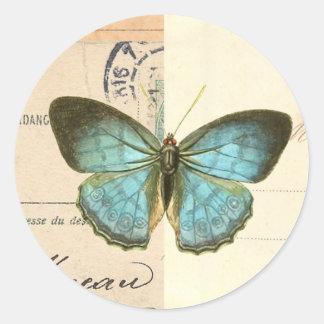 Vintager Schmetterling im blauen schönen trendy Runder Aufkleber