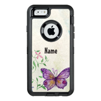 Vintager Schmetterling mit Blumen OtterBox iPhone 6/6s Hülle
