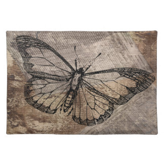 Vintager Schmetterling Stofftischset
