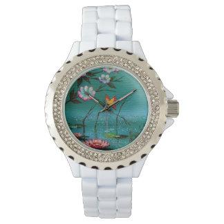 Vintager Schmetterling und Blumen Armbanduhr