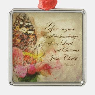 Vintager Schmetterling wachsen im Anmut-Bibel-Vers Silbernes Ornament