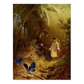 Vintager Schmetterlings-Fänger Postkarte