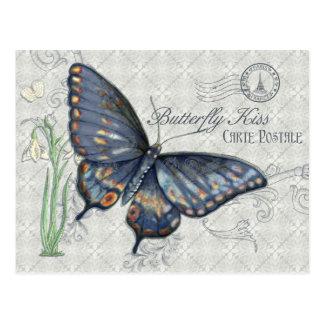 Vintager Schmetterlings-Kuss, Carte Postale Postkarte