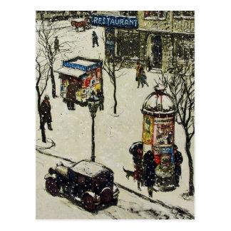 Vintager Schnee umfaßte Zwanzigerjahre Stadt-Straß Postkarten