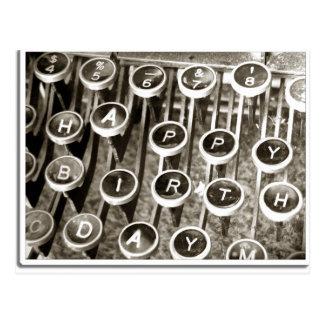 Vintager Schreibmaschinen-Geburtstags-Gruß Postkarte