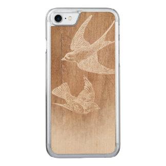 Vintager Schwalben-Vogel-botanisches Holz Carved iPhone 8/7 Hülle