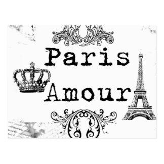 Vintager Schwarz-weißer Paris-Liebes-Eiffel-Turm Postkarte