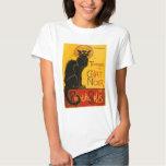 Vintager schwarze Katzen-Kunst Nouveau Chat Noir Hemd