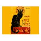 Vintager schwarze Katzen-Kunst Nouveau Chat Noir Postkarte