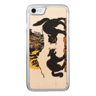 Vintager schwarze Katzen-Trick oder Leckerei Carved iPhone 8/7 Hülle