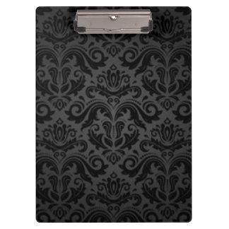 Vintager schwarzer Damast-Muster-Druck-Entwurf Klemmbrett