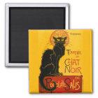 Vintager schwarzer Katzen-Kunst Nouveau Paris Quadratischer Magnet