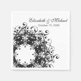 Vintager schwarzer u. weißer Hochzeits-mit Papierserviette