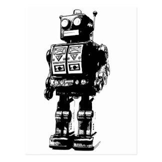 Vintager Schwarzweiss-Roboter Postkarte