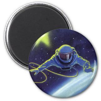 Vintager Science Fiction-Astronaut auf einem Runder Magnet 5,7 Cm