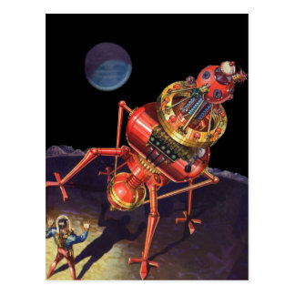 Vintager Science Fiction-Astronaut mit Postkarte