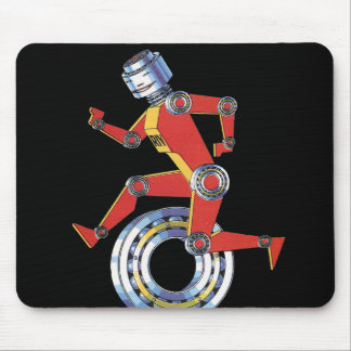 Vintager Science Fiction-Roboter, der mit Rad Mousepad