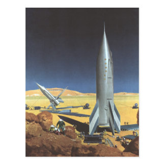 Vintager Science Fiction-Wüsten-Planet mit Rockets Postkarte