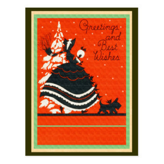 Vintager Scottie-Hund und Dame Postkarte