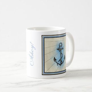 Vintager Seeanker - ahoi! Oder Ihre eigene Phrase Kaffeetasse